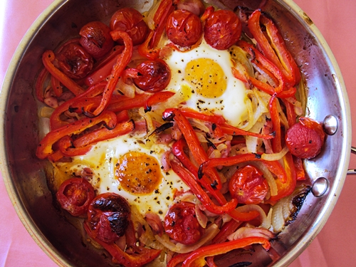 Sunny Side Up Eggs with Red Peppers & Smoked Chicken