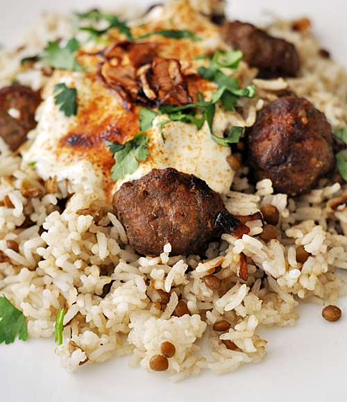 Lamb Meatballs & Lentil Rice with Garlicky Tahini-Yoghurt Sauce
