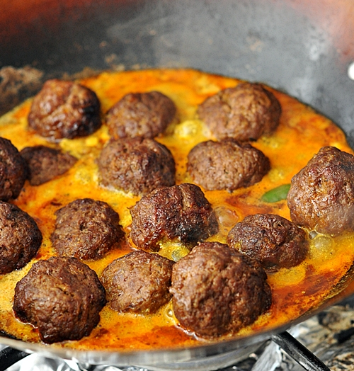 Curried Meatballs with Lentils  (shortcut version)