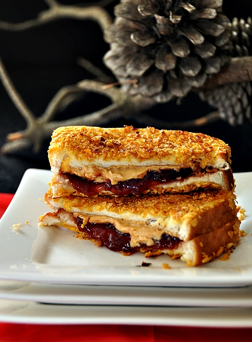 Cornflakes Crusted Grilled Peanut Butter & Jelly Sandwich - Fuss Free ...