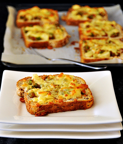 Pineapple & Peas Pizza Toasts