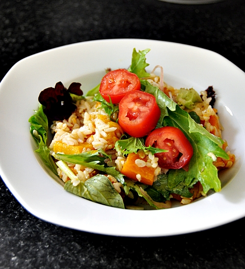 Roasted Pumpkin Brown Rice Salad