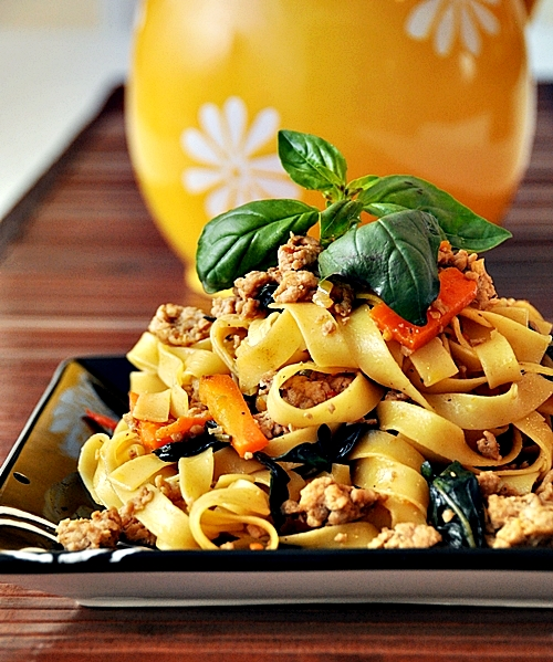 Tagliatelle with Spicy Thai Basil Chicken - Fuss Free Cooking