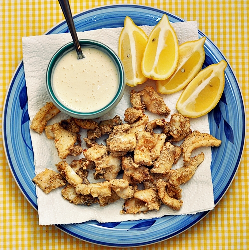 Crispy Squid with Garlic Mayonnaise {from Nigella Express}