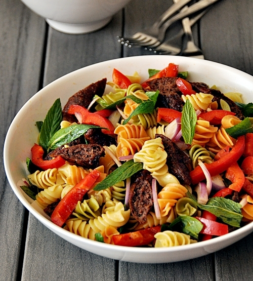 Colourful Pasta Salad with Skinless Sausages (lightly dressed with harissa vinaigrette)