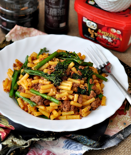 Beef & Broccolini Chow Mac with Gochujang (Korean Hot Pepper Paste)
