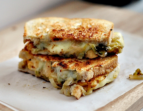 "Grilled Cheese Sandwich with ""Pickled"" Brussels Sprouts and Onions"