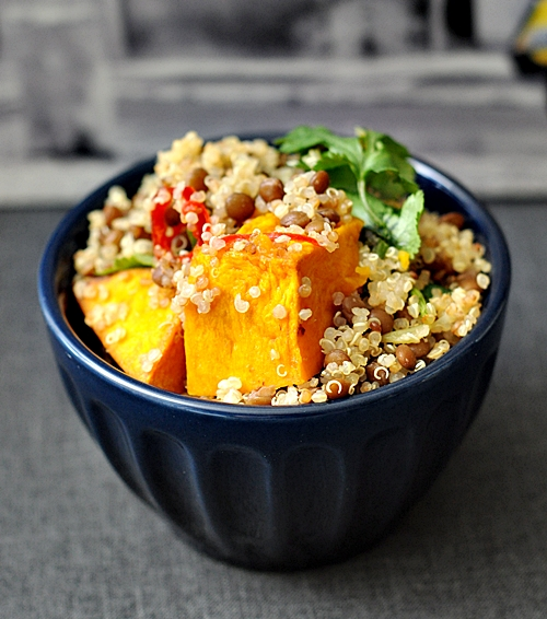 Pumpkin, Lentils & Quinoa Salad {with roasted garlic & chilli}
