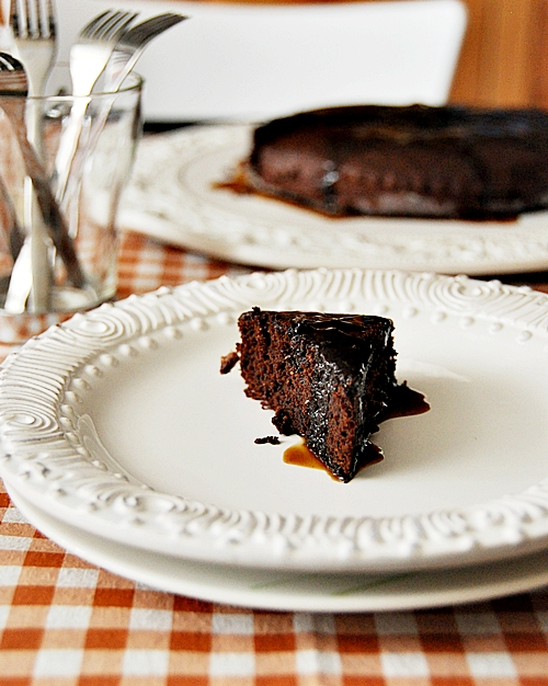 Chocolate Fudge Cake with Coffee Syrup