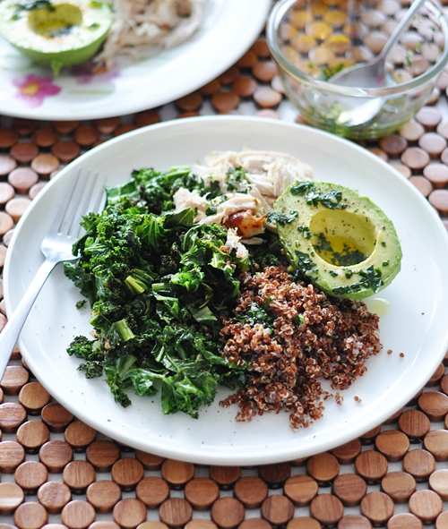 Kale, Quinoa, Avocado & Roast Chicken Salad - Fuss Free Cooking