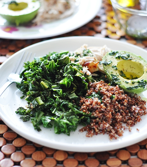 Kale, Quinoa, Avocado & Roast Chicken Salad - Fuss Free Cooking