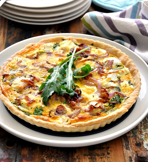 a18 Goat Cheese, Arugula (Rocket) & Caramelised Onions Quiche