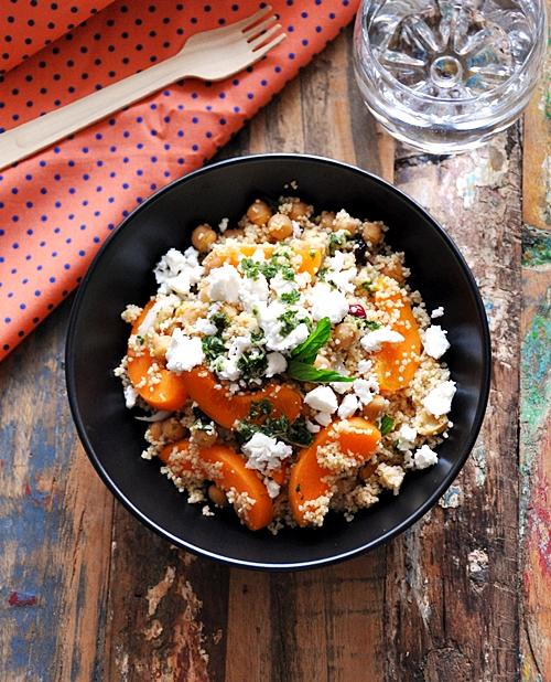 Chickpea, Couscous, Apricot, Feta & Mint Salad