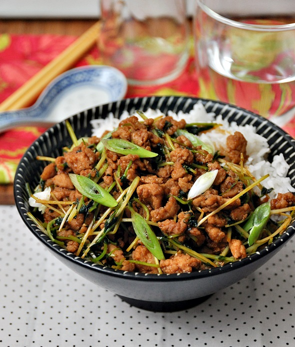 Chicken with Snow Pea Shoots and Gochujang (Korean Hot Bean Paste) Stir Fry Recipe a1