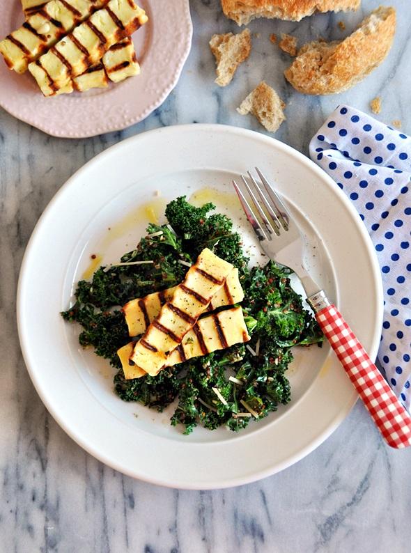 Basil Pesto Marinated Kale, Quinoa & Haloumi Salad