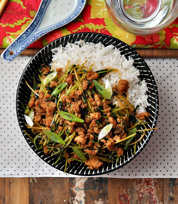 Chicken with Snow Pea Shoots and Gochujang (Korean Hot Bean Paste) Stir Fry Recipe a2