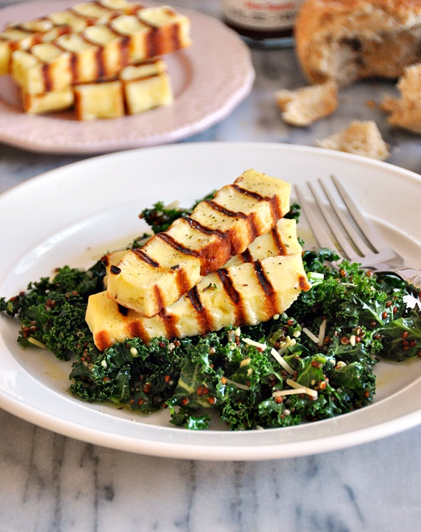 Basil Pesto Marinated Kale & Haloumi Salad a2