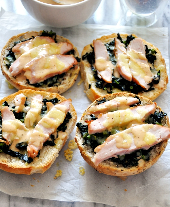 Open-Face Cheese Melt with Smoked Chicken, Kale & Adobo Sauce Mayonnaise