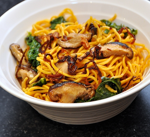 Noodles with Chinese Kale & Shitake Mushrooms