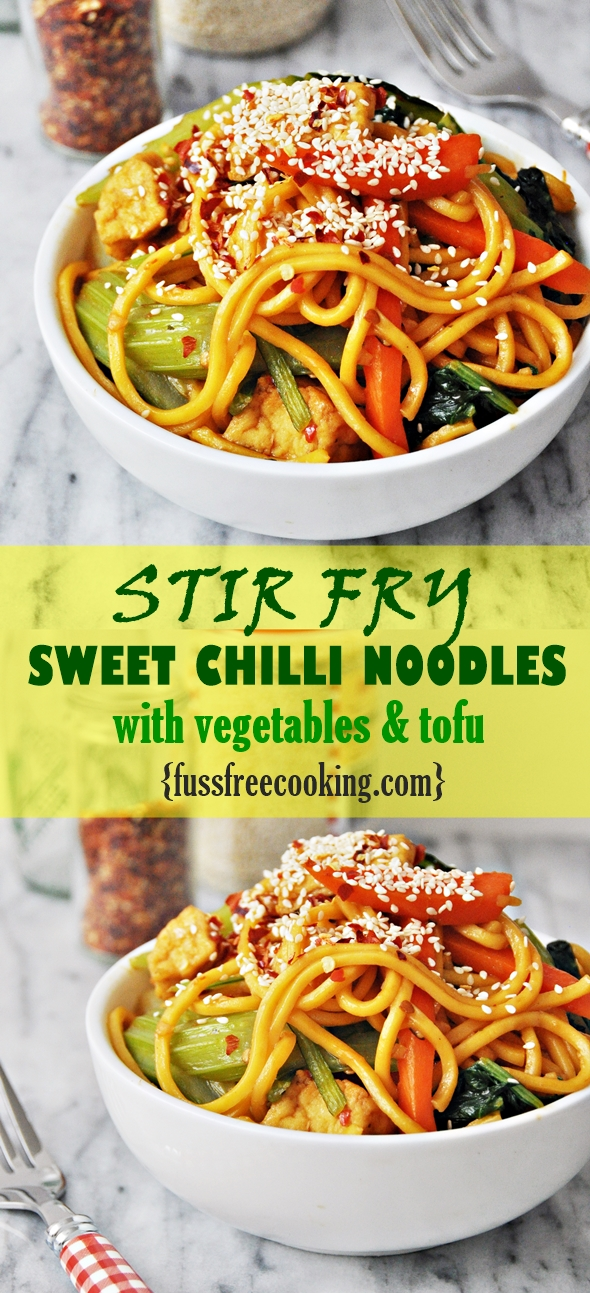 Stir-Fry Sweet Chilli Noodles with Vegetables & Tofu | fussfreecooking.com