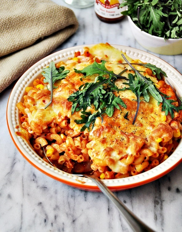 chipotle salmon & sweet corn baked macaronia4