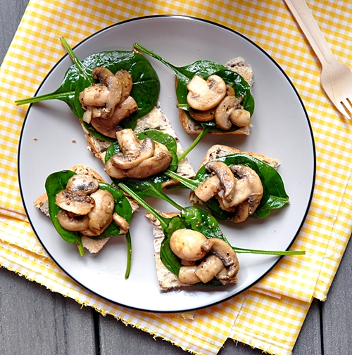 Plain Toasts Topped with A Pan Fried Mushrooms and Spinach Salad [Vegetarian]