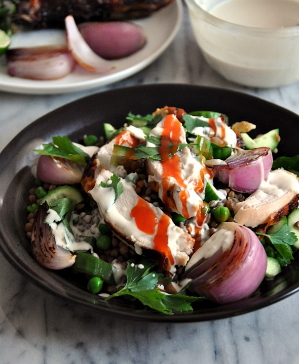 Roast Chicken & Lentils Salad with Garlic-Tahini-Yoghurt Dressing