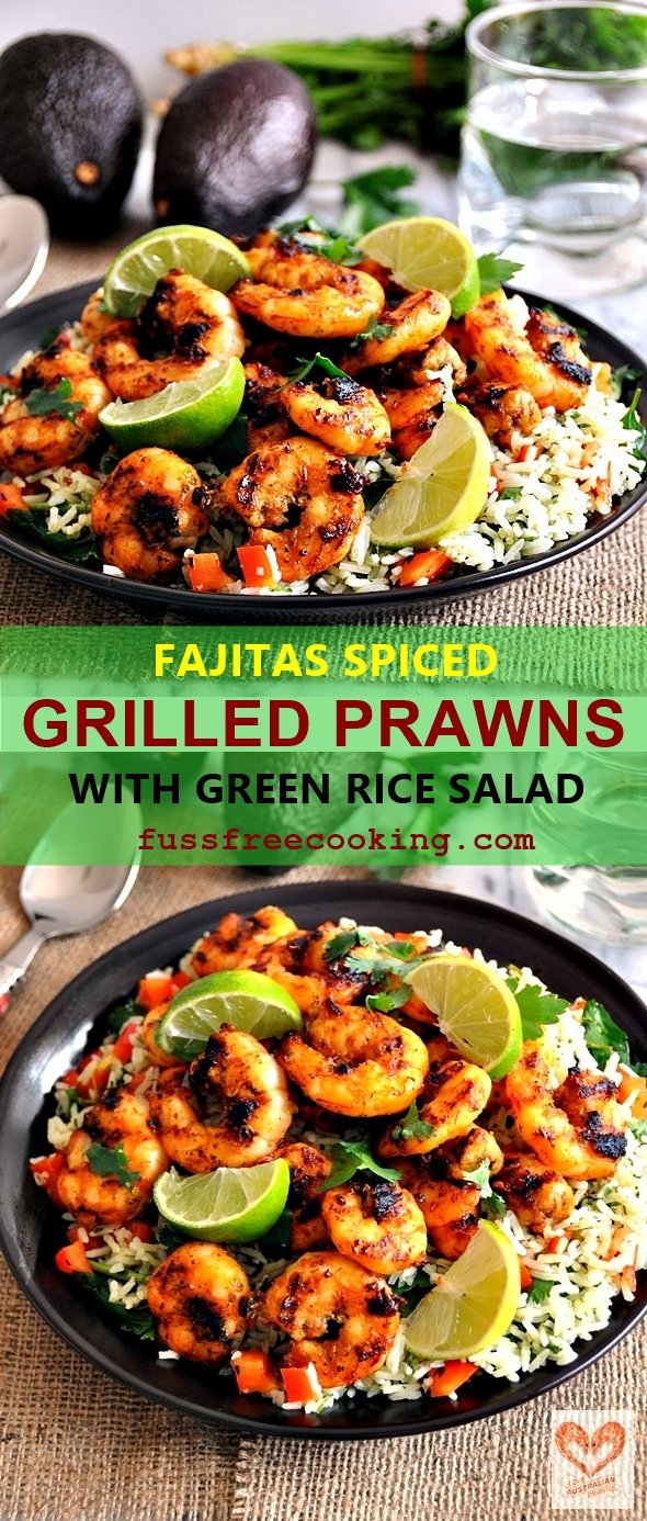 Fajitas Spiced Grilled Prawns with Green Rice Salad