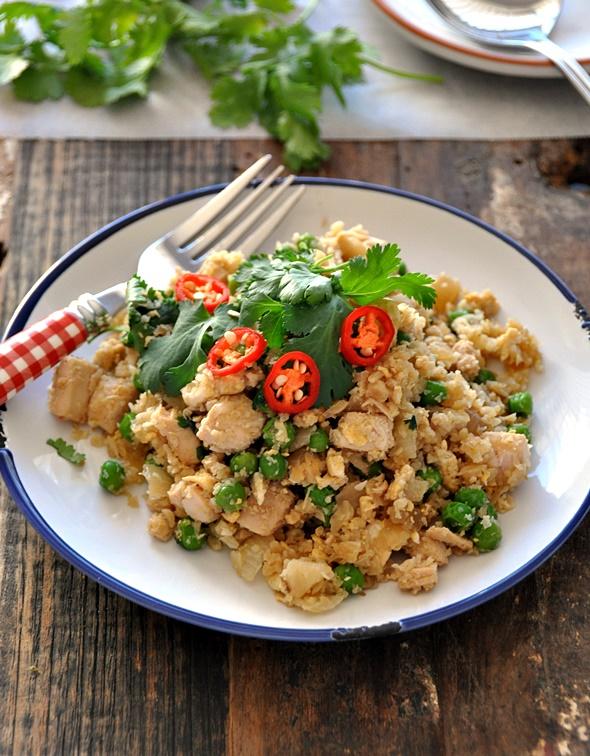 """Roast Chicken, Peas & Coriander Fried Cauliflower """"Rice"""""""