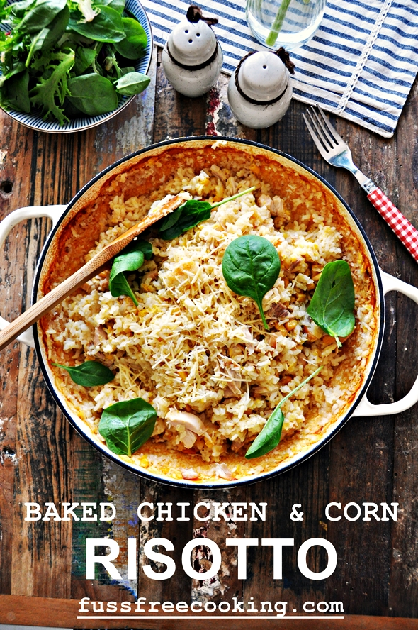 Baked Chicken & Corn Risotto | fussfreecooking.com