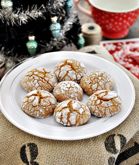 Spiced Gingerbread Olive Oil Crinkle Cookies