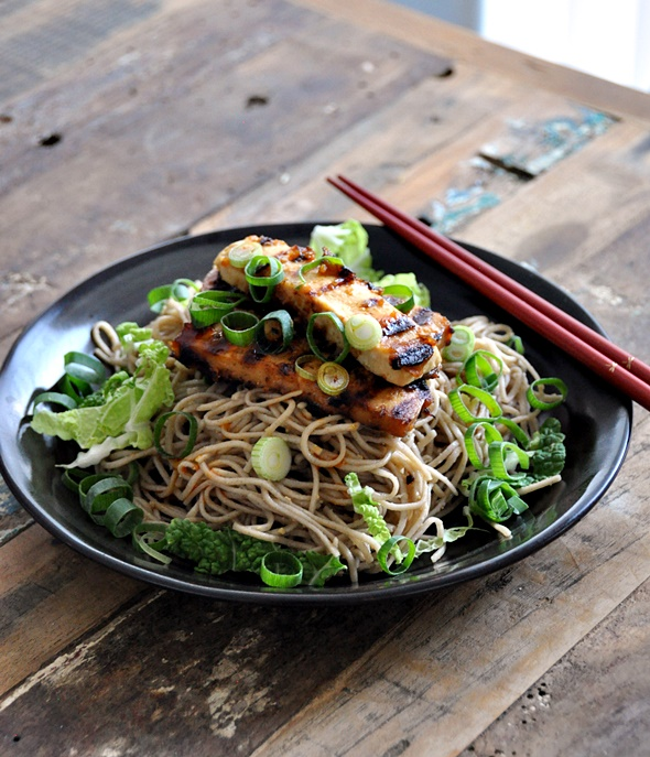 Soba with Ginger-Miso-Maple Syrup Dressing topped with Grilled Tofu // A Vegetarian & Vegan Friendly Recipe