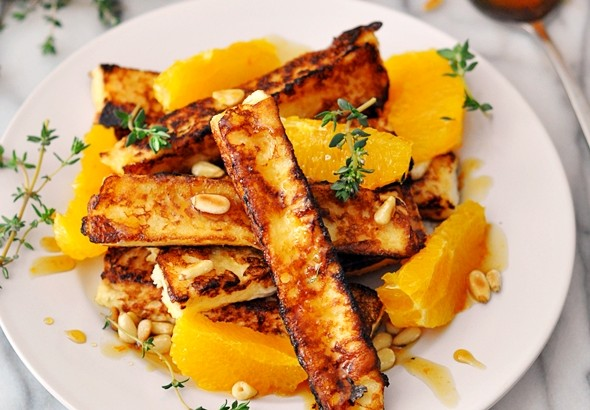 French Toast Sticks and Pinenuts with Orange, Thyme & Maple Syrup