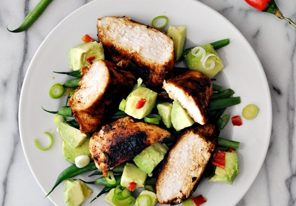 Grilled Garlic-Thyme-and-Paprika Chicken with Avocado and Bean Salad Recipe