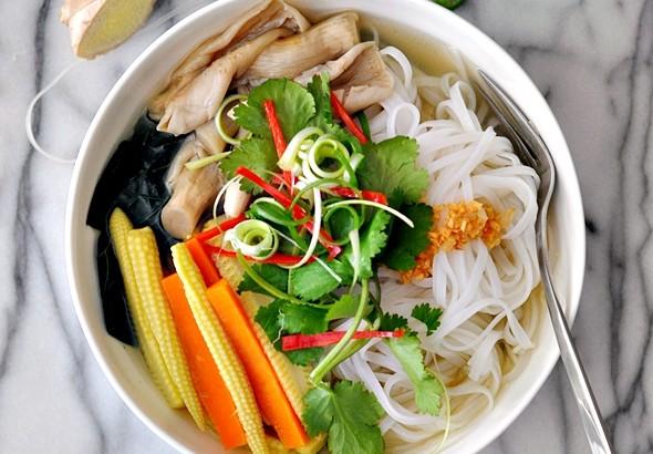 Under the weather mushroom & vegetable noodle soup