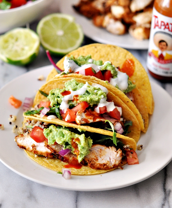 Grilled Chicken & Guacamole Taco with Garlic-Yoghurt-Tahini Sauce