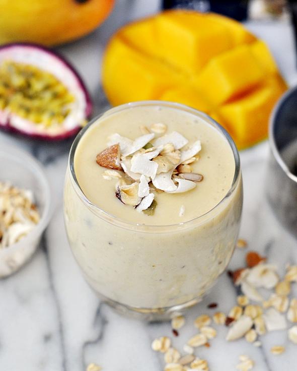 Banana, Mango, Passion Fruit & Muesli Smoothie {Dairy Free & Vegan Recipe}