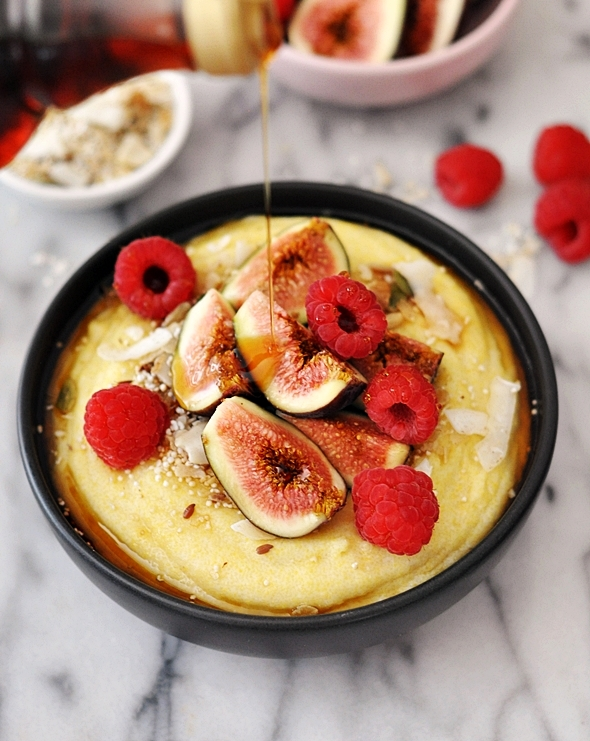 Coconut Polenta Porridge with Figs, Raspberries & Maple Syrup {Vegan & Gluten Free Breakfast Recipe}