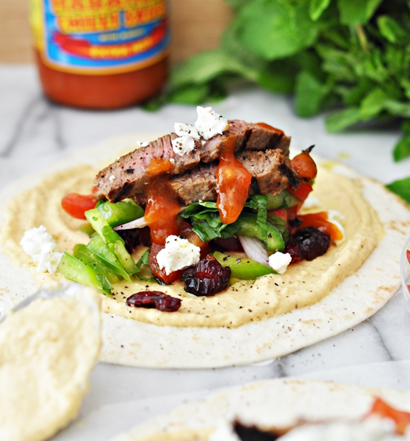 Grilled Cranberry-Glazed Lamb Soft Taco with Hommus, Feta & Tomato-Capsicum-Mint Salsa