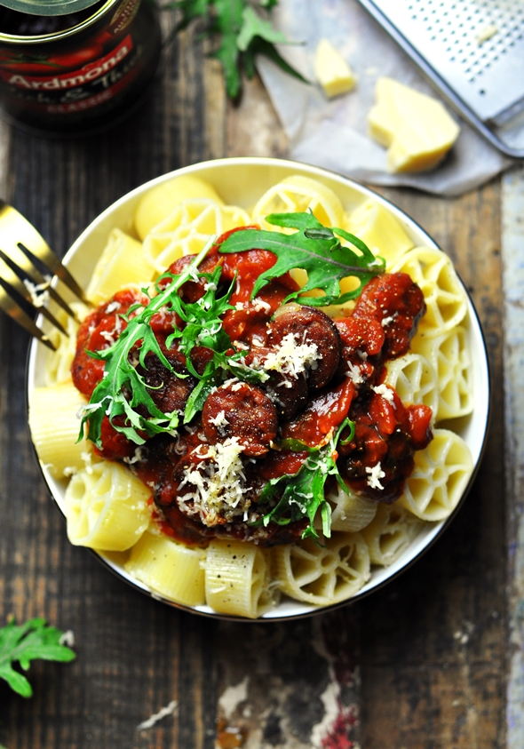 Pasta with Garlicky Chorizo & Tomato Sauce | www.fussfreecooking.com