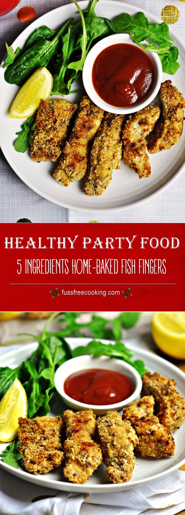 5 Ingredients Baked Crispy Fish Fingers | Healthy Party Food | fussfreecooking.com