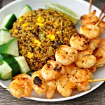 Grilled Lime, Brown Sugar & Sriracha Prawn Skewers (Cooking Video)