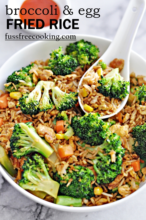 Broccoli & Egg Fried Rice - fussfreecooking.com