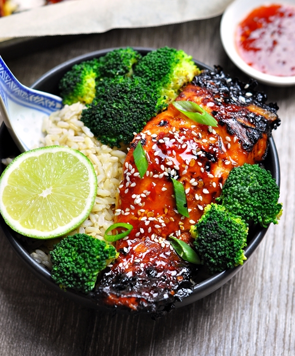 Grilled Lime and Sweet Chilli Salmon
