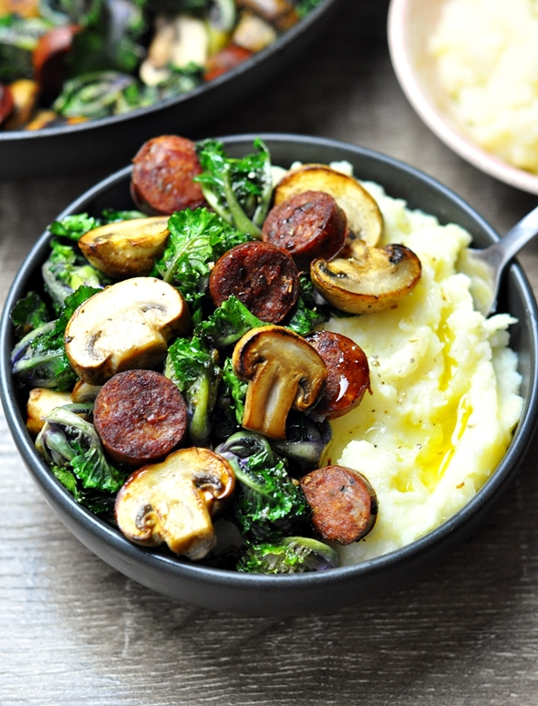Pan-Fried Kalettes (Kale Sprouts) with Chorizo