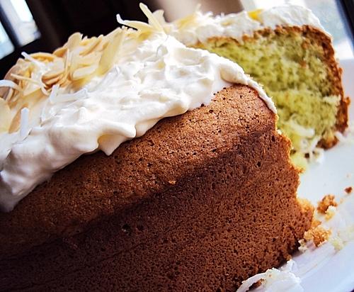 Pandan Sponge Cake with Shredded Coconut Frosting