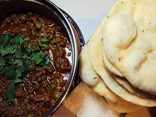Beef Mince Curry & Indian Fried Breads (Poori)
