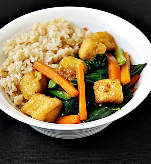 Tofu Puffs with Chinese Kale (Gai-Lan) and Carrot