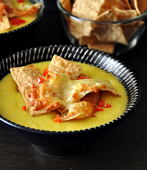 Sweetcorn Chowder with Cheesy Toasted Tortillas [from Nigella Express]