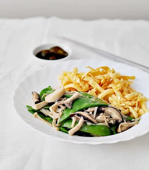 Assorted Fresh Asian Mushrooms with Snow Peas Stir Fry & A Game with Me